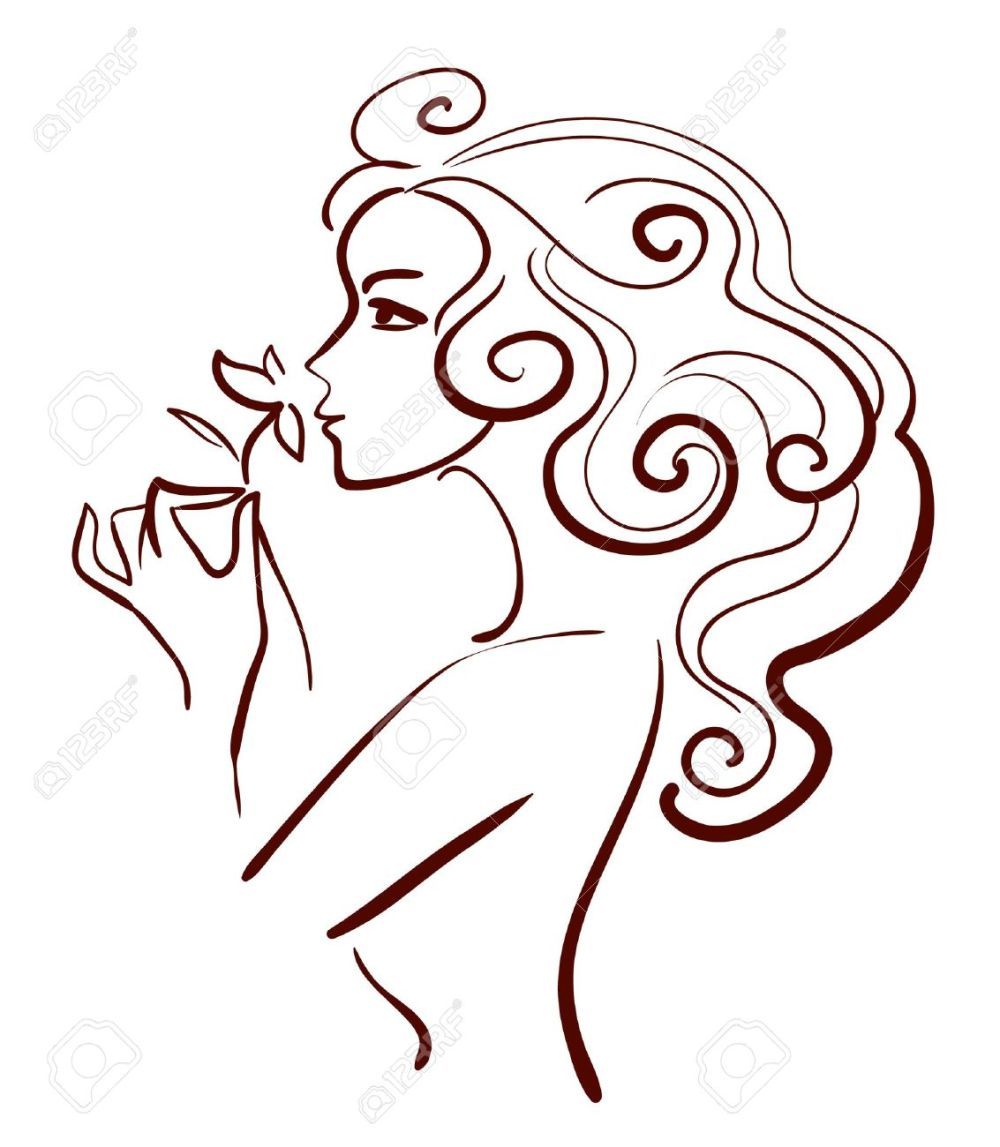 15858146-mujer-hermosa-con-la-flor-ilustración-lineal
